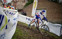 Pauline Ferrand-Prevot (FRA/Rabobank-Liv) leading the race<br /> <br /> Druivencross Overijse 2014