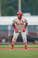 Johnson City Cardinals left fielder Leandro Cedeno (5) leads off during the second game of a doubleheader against the Princeton Rays on August 17, 2018 at Hunnicutt Field in Princeton, Virginia.  Princeton defeated Johnson City 12-1.  (Mike Janes/Four Seam Images)