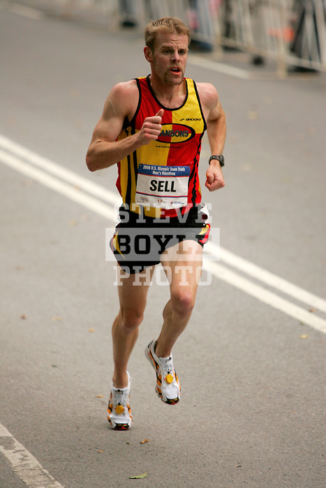 Brian Sell runs through Central Park while competing in the 2008 Men's Olympic Trials Marathon on November 3, 2007 in New York, New York.  The race began at 50th Street and Fifth Avenue and finished in Central Park.  Hall won the race with a time of 2:09:02.