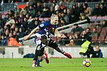 Andres Iniesta Lujan (R) of FC Barcelona fights for the ball with Cheik Doukoure of Levante UD during the La Liga 2017-18 match between FC Barcelona and Levante UD at Camp Nou on 07 January 2018 in Barcelona, Spain. Photo by Vicens Gimenez / Power Sport Images