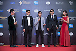 Cao Weiyu (sunglasses), Xing Aowei (grey jacket), Jarvis Wu (necktie) at the Red Carpet event at the World Celebrity Pro-Am 2016 Mission Hills China Golf Tournament on 20 October 2016, in Haikou, China. Photo by Marcio Machado / Power Sport Images