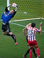 MELBOURNE, AUSTRALIA - SEPTEMBER 19, 2010: Danny Vukovic from the Phoenix catches the ball in Round 7 of the 2010 A-League between the Melbourne Heart and Wellington Phoenix at AAMI Park on September 19, 2010 in Melbourne, Australia. (Photo by Sydney Low / Asterisk Images)