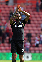 Kyle Bartley of Swansea City thanks away supporters at the end of the game during the Premier League match between Southampton and Swansea City at the St Mary's Stadium, Southampton, England, UK. Saturday 12 August 2017
