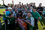 North Ferriby players and fans celebrate with the trophy. Vanarama National League North, Promotion Final, North Ferriby United v AFC Fylde, 14th May 2016.