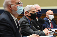 From left to right, Dr. Robert Redfield, Director, Centers for Disease Control and Prevention; Dr. AnthonyÜ Fauci, Director, National Institute for Allergy and Infectious Diseases, National Institutes of Health; ADM Brett P. Giroir, Assistant Secretary for Health U.S. Department of Health and Human Services; and Dr. Stephen M. Hahn, Commissioner, U.S. Food and Drug Administration; testify during a House Energy and Commerce Committee hearing on the Trump Administration's Response to the COVID-19 Pandemic, on Capitol Hill in Washington, DC on Tuesday, June 23, 2020. <br /> Credit: Kevin Dietsch / Pool via CNP/AdMedia