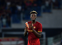 Calcio, Serie A: AS Roma vs Udinese, Olympic stadium, September 23, 2021.<br /> Roma's Tammy Abraham celebrates after winning 1-0 the Italian Serie A football match between Roma and Udinese at Rome's Olympic stadium, on September 23, 2021.<br /> UPDATE IMAGES PRESS/Isabella  Bonotto