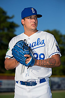 Burlington Royals pitcher Andres Sotillet (38) poses for a photo prior to the game against the Danville Braves at Burlington Athletic Stadium on August 12, 2017 in Burlington, North Carolina.  The Braves defeated the Royals 5-3.  (Brian Westerholt/Four Seam Images)