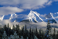 Kootenay National Park, Canadian Rockies, BC, British Columbia, Canada - Snow Covered Mitchell Range Mountains, Winter