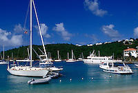 U.S. Virgin Islands, St. John, Caribbean, USVI, Boats in Cruz Bay on Saint John Island.