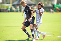 LAKE BUENA VISTA, FL - JULY 9: Keaton Parks #55 of NYCFC, Jose Martinez #8 of the Philadelphia Union battling for the ball during a game between New York City FC and Philadelphia Union at Wide World of Sports on July 9, 2020 in Lake Buena Vista, Florida.