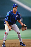 Casey Blake of the Toronto Blue Jays during a game against the Anaheim Angels at Angel Stadium circa 1999 in Anaheim, California. (Larry Goren/Four Seam Images)