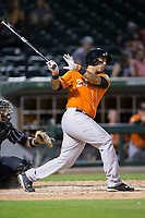 Pedro Alvarez (24) of the Norfolk Tides follows through on his swing against the Charlotte Knights at BB&T BallPark on May 2, 2017 in Charlotte, North Carolina.  The Knights defeated the Tides 8-3.  (Brian Westerholt/Four Seam Images)