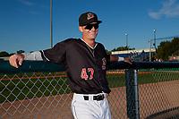 Batavia Muckdogs second baseman Jack Strunc (47) before a NY-Penn League game against the Auburn Doubledays on August 31, 2019 at Dwyer Stadium in Batavia, New York.  Auburn defeated Batavia 12-5.  (Mike Janes/Four Seam Images)