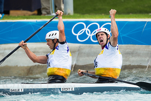 02 AUG 2012 - CHESHUNT, GBR - Tim Baillie (GBR) (left) and Etienne Stott (GBR) (right) of Great Britain celebrate their semi final run  time during the men's Canoe Double (C2) during the London 2012 Olympic Games event at Lee Valley White Water Centre, Cheshunt, Great Britain (PHOTO (C) 2012 NIGEL FARROW)