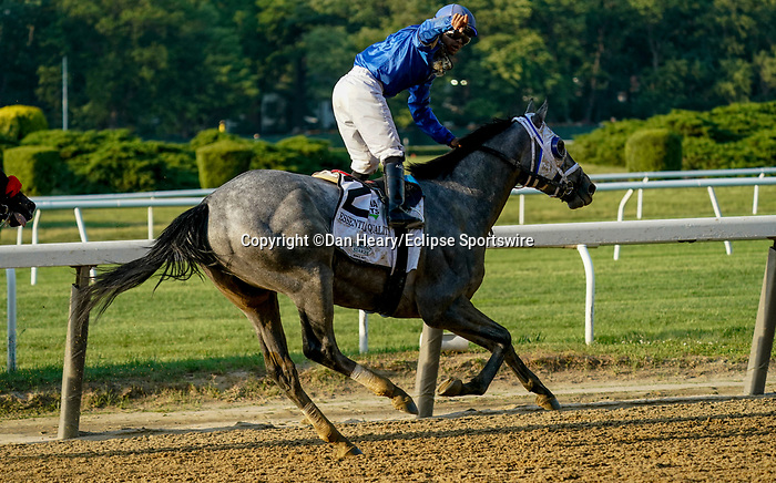 June 5, 2021: Essential Quality, #2, ridden by jockey Luis Saez, wins the Belmont Stakes on Belmont Stakes Day at the Belmont Stakes Festival at Belmont Park in Elmont, New York. Dan Heary/Eclipse Sportswire/CSM