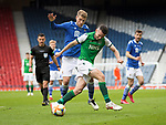 St Johnstone v Hibs…22.05.21  Scottish Cup Final Hampden Park<br />Paul McGinn is tackled by David Wotherspoon<br />Picture by Graeme Hart.<br />Copyright Perthshire Picture Agency<br />Tel: 01738 623350  Mobile: 07990 594431