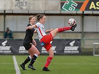 Wilhelmina Pellens (41) of Eendracht Aalst and Geena Lisa Buyle (13) of Zulte-Waregem in action during a female soccer game between SV Zulte - Waregem and Eendracht Aalst on the 9 th matchday in play off 2 of the 2020 - 2021 season of Belgian Scooore Womens Super League , saturday 22 nd of May 2021  in Zulte , Belgium . PHOTO SPORTPIX.BE | SPP | DIRK VUYLSTEKE