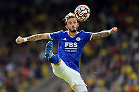 28th August 2021; Carrow Road, Norwich, Norfolk, England; Premier League football, Norwich versus Leicester; James Maddison of Leicester City controls the ball