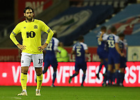 Blackburn Rovers' Danny Graham with Wigan Athletic celebrating their first goal behind<br /> <br /> Photographer Rachel Holborn/CameraSport<br /> <br /> The EFL Sky Bet Championship - Wigan Athletic v Blackburn Rovers - Wednesday 28th November 2018 - DW Stadium - Wigan<br /> <br /> World Copyright © 2018 CameraSport. All rights reserved. 43 Linden Ave. Countesthorpe. Leicester. England. LE8 5PG - Tel: +44 (0) 116 277 4147 - admin@camerasport.com - www.camerasport.com