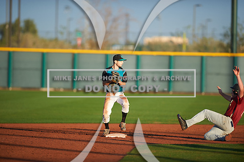 David Stirpe (3) of Hilton H.S. High School in Rochester, New York during the Under Armour All-American Pre-Season Tournament presented by Baseball Factory on January 14, 2017 at Sloan Park in Mesa, Arizona.  (Zac Lucy/Mike Janes Photography)