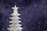 USA, Illinois, Metamora, Silver Christmas tree against sky with stars