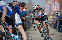 111th Paris-Roubaix 2013..Fabian Cancellara (CHE) at Carrefour de l'Arbre.