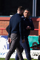 3rd April 2021; Dens Park, Dundee, Scotland; Scottish FA Cup Football, Dundee FC versus St Johnstone; St Johnstone manager Callum Davidson and Dundee manager James McPake talk at the end of the match