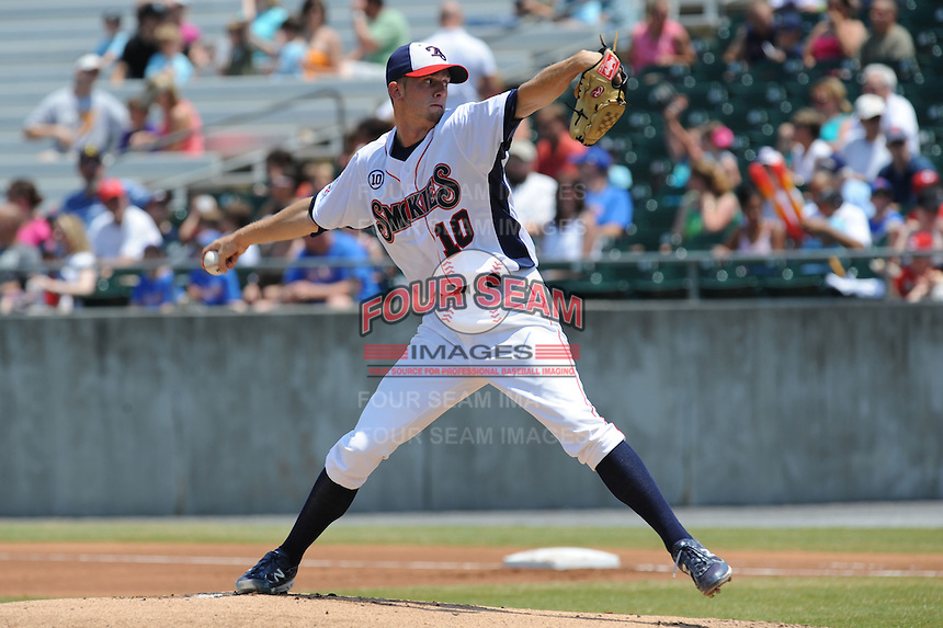 Tennessee Smokies Rob Whitenack #10 delivers a pitch during a game against the Mobile BayBears at Smokies Park in Kodak,  Tennessee;  May 22, 2011.  The Smokies won the game 4-2.  Photo By Tony Farlow/Four Seam Images