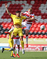 Fleetwood Town's Danny Andrew battles with Doncaster Rovers' Brad Halliday<br /> <br /> Photographer David Shipman/CameraSport<br /> <br /> The EFL Sky Bet League One - Doncaster Rovers v Fleetwood Town - Saturday 17th August 2019  - Keepmoat Stadium - Doncaster<br /> <br /> World Copyright © 2019 CameraSport. All rights reserved. 43 Linden Ave. Countesthorpe. Leicester. England. LE8 5PG - Tel: +44 (0) 116 277 4147 - admin@camerasport.com - www.camerasport.com