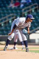 Wilmington Blue Rocks starting pitcher Miguel Almonte (27) looks to his catcher for the sign against the Winston-Salem Dash at BB&T Ballpark on July 6, 2014 in Winston-Salem, North Carolina.  The Dash defeated the Blue Rocks 7-1.   (Brian Westerholt/Four Seam Images)