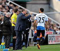 Rafa Benitez manager of Newcastle United issues instructions to Andros Townsend of Newcastle United during the Barclays Premier League match between Newcastle United and Swansea City played at St. James' Park, Newcastle upon Tyne, on the 16th April 2016