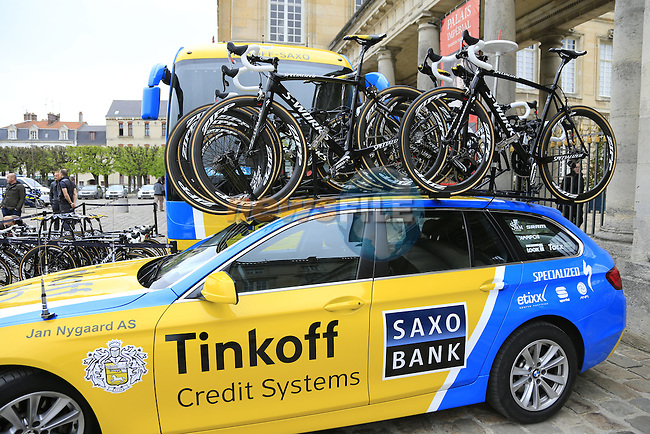 Tinkoff-Saxo team arrive in Compiegne for the 112th edition of the 257 km Paris-Roubaix cycle race held over the cobbled roads of Northern France. 13th April 2014.<br /> Picture: Eoin Clarke www.newsfile.ie