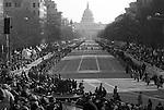 Thousands of spectators await President Barack Obama's Inaugural Parade.