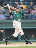 Infielder Ryan Fisher (21) of the Greensboro Grasshoppers, Class A affiliate of the Florida Marlins, in a game against the Greenville Drive on April 26, 2011, at Fluor Field at the West End in Greenville, South Carolina. (Tom Priddy/Four Seam Images)