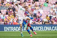 29th August 2021; Nou Camp, Barcelona, Spain; La Liga football league, FC Barcelona versus Getafe; Jakub Jankto of Getafe CF challenges for the ball with Griezmann of FC Barcelona
