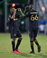 LAKE BUENA VISTA, FL - JULY 18: Bradley Wright-Phillips #66 of LAFC celebrates his goal with Diego Palacios #12 of LAFC during a game between Los Angeles Galaxy and Los Angeles FC at ESPN Wide World of Sports on July 18, 2020 in Lake Buena Vista, Florida.