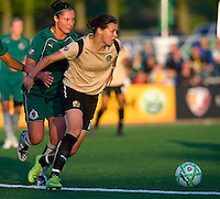 FC Gold Pride forward Christine Sinclair (12) keeps St Louis Athletica forward Melissa Tancredi (14) behind her during a WPS match at Korte Stadium, in St. Louis, MO, May 9 2009. St. Louis Athletica won the match 1-0.