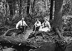 Fayette County PA:  Family photograph at Bear Run (Homer, Helen and Alice Brady Stewart).