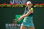 March 9, 2019: Angelique Kerber (GER) hits a forehand in a match where she defeated Yulia Putintseva (KAZ) 6-0, 6-2 at the BNP Paribas Open at the Indian Wells Tennis Garden in Indian Wells, California. ©Mal Taam/TennisClix/CSM