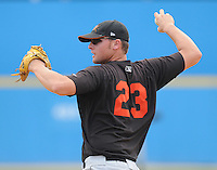 June 21, 2008: Infielder Chris Vinyard (23) of the Frederick Keys, Carolina League affiliate of the Baltimore Orioles, prior to a game against the Potomac Nationals at G. Richard Pfitzner Stadium in Woodbridge, Va. Photo by:  Tom Priddy/Four Seam Images