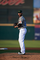 Inland Empire 66ers starting pitcher Sean Isaac (26) prepares to deliver a pitch during a California League game against the Lancaster JetHawks at San Manuel Stadium on May 19, 2018 in San Bernardino, California. Inland Empire defeated Lancaster 9-6. (Zachary Lucy/Four Seam Images)