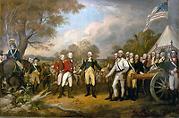 The scene of the surrender of the British General John Burgoyne at Saratoga, on October 17, 1777, was a turning point in the American Revolutionary War that prevented the British from dividing New England from the rest of the colonies. The central figure is the American General Horatio Gates, who refused to take the sword offered by General Burgoyne, and, treating him as a gentleman, invites him into his tent. All of the figures in the scene are portraits of specific officers. Trumbull planned this outdoor scene to contrast with the Declaration of Independence beside it. John Trumbull (1756–1843) was born in Connecticut, the son of the governor. After graduating from Harvard University, he served in the Continental Army under General Washington. He studied painting with Benjamin West in London and focused on history painting. Major figures in the painting (from left to right, beginning with mounted officer): American Captain Seymour of Connecticut (mounted) American Colonel Scammel of New Hampshire (in blue) British Major General William Phillips (British Army officer) (in red) British Lieutenant General John Burgoyne (in red) American Major General Horatio Gates (in blue) American Colonel Daniel Morgan (in white) A full key is available here. The dimensions of this oil painting on canvas are 365.76 cm by 548.64 cm (144.00 in by 216.00 in).