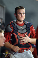 Oklahoma City RedHawks catcher Max Stassi (10) in the dugout during a game against the Memphis Redbirds on May 23, 2014 at AutoZone Park in Memphis, Tennessee.  Oklahoma City defeated Memphis 12-10.  (Mike Janes/Four Seam Images)