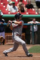 Mike Freeman #1 of the Visalia Rawhide bats against the High Desert Mavericks at Stater Bros. Stadium on May 16, 2012 in Adelanto,California. (Larry Goren/Four Seam Images)