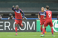 Washington, D.C.- March 29, 2014. Jhon Kennedy Hurtado of the Chicago Fire celebrates his score.  The Chicago Fire tied D.C. United 2-2 during a Major League Soccer Match for the 2014 season at RFK Stadium.