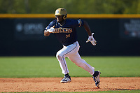 Broadus Roberson (39) of the Queens Royals takes off for third base during game two of a double-header against the Catawba Indians at Tuckaseegee Dream Fields on March 26, 2021 in Kannapolis, North Carolina. (Brian Westerholt/Four Seam Images)