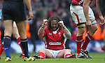 Adam Jones celebrates victory and the Grand Slam at the final whistle..RBS 6 Nations 2012.Wales v France.Millennium Stadium.17.03.12..CREDIT: STEVE POPE-SPORTINGWALES