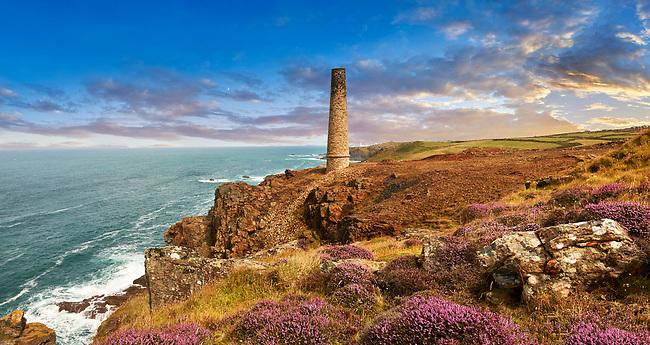 Ruined Chimney of a Cornish Tin Mine, Cornwall