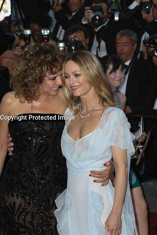 Valeria Golino, Vanessa Paradis attends 'The Last Face' Premiere during the 69th annual Cannes Film Festival at the Palais des Festivals on May 20, 2016 in Cannes, France.