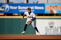 Bradenton Marauders shortstop Adrian Valerio (14) during a Florida State League game against the Charlotte Stone Crabs on July 30, 2019 at LECOM Park in Bradenton, Florida.  Bradenton defeated Charlotte 2-1.  (Mike Janes/Four Seam Images)
